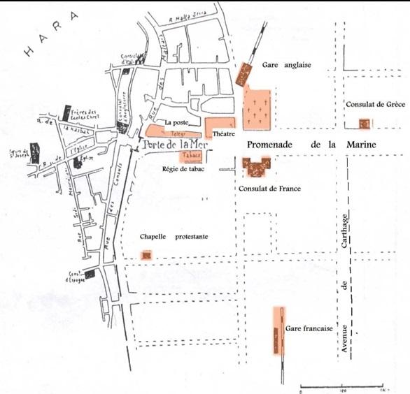le cimetire anglican le cimetire juif et les deux gares de chemin de fer gare franaise au sud et gare italienne au nord fig6 - Douche Italienne Dimension1752